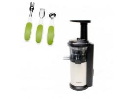Storcator de fructe si legume MJ-L500NXE, cu melc, bej/negru,Panasonic---Set ustensile fructe CADOU