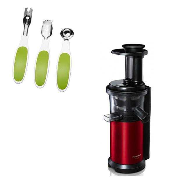 Storcator de fructe si legume MJ-L500RXE ,cu melc , rosu/negru,Panasonic---Set ustensile fructe CADOU