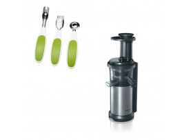 Storcator de fructe si legume MJ-L500SXE, cu melc, argintiu/negru, Panasonic---Set ustensile fructe CADOU