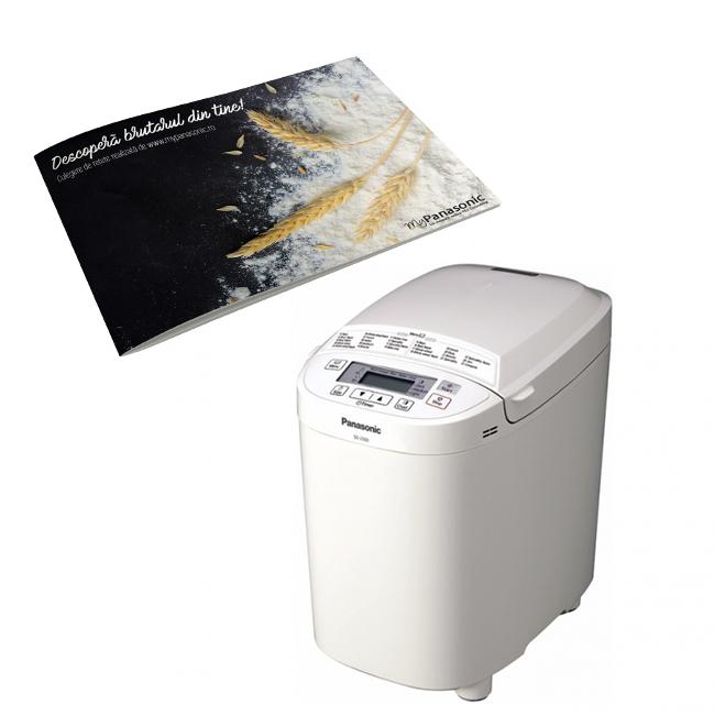 Masina de paine,SD-2500WXE comenzi digitale, 10 programe automate de paine, culoare alb, Panasonic---Culegere de retete CADOU