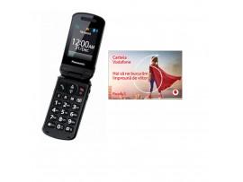Panasonic - KX-TU329FXM - Telefon GSM ideal pentru Seniori, cu buton SOS, Panasonic+ CARTELA PREPAY VODAFONE CADOU!