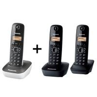 Pachet format din 3 telefoane Panasonic KX TG1612FXH+ KX TG1611FXW